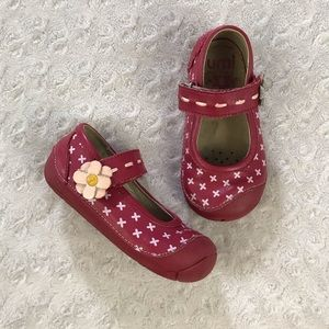 Umi Davan Mary Jane Shoes Red Leather Flower 7